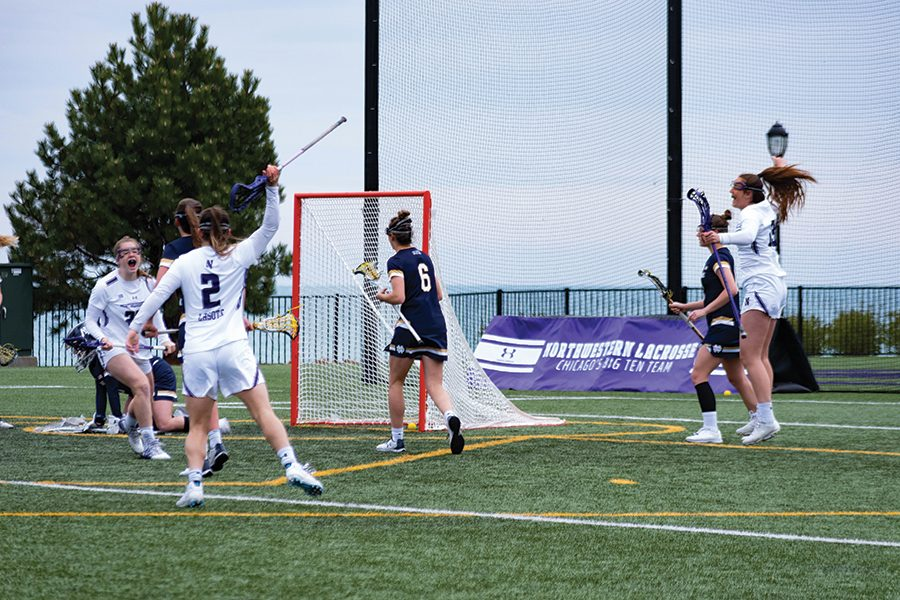The+Wildcats+players+celebrate+a+goal.+NU+advanced+to+the+NCAA+Final+Four+for+the+first+time+since+2014.