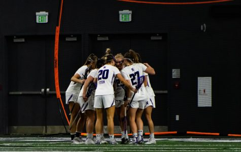 The Wildcats talk after a goal. NU will begin its 2019 NCAA Tournament run this Sunday at home.