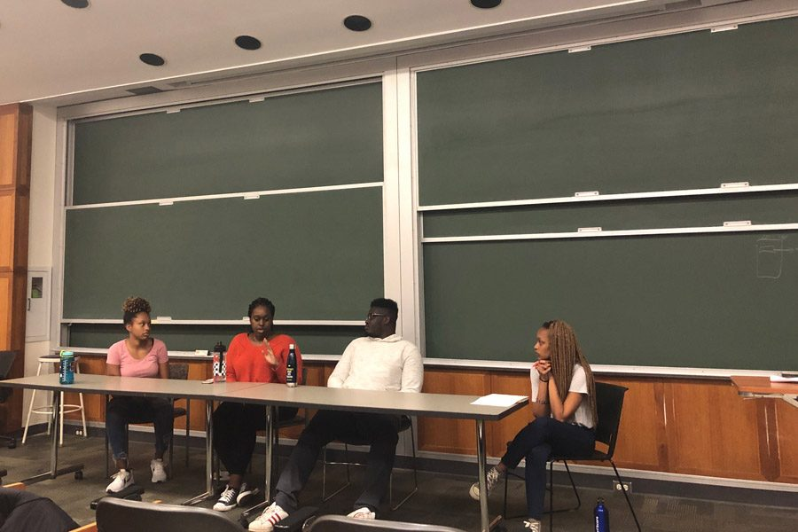 Students discuss their experiences adjusting to American culture at Monday event.