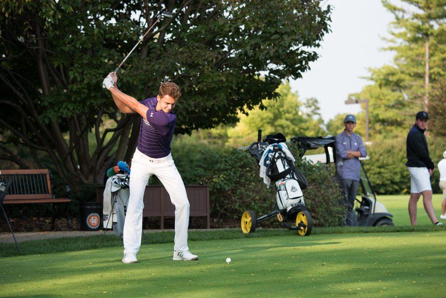 Ryan Lumsden takes a swing. He'll graduate as one of the best golfers in program history.