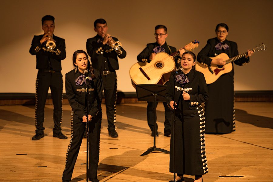 Mariachi NU performs at their seventh annual spring show. Guitars, trumpets, violins and traditional instruments like the guitarrón and the vihuela make up the instrumentation for the group.