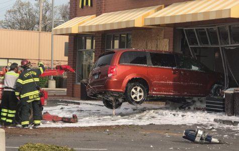 Minor injuries after car crashes through Howard McDonald's
