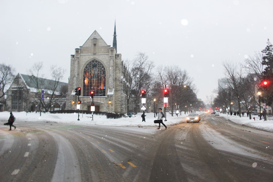 A snowy day in November. Snow events in Evanston during the first quarter of 2019 led to high overtime expenses in the police department, fire department and Public Works Agency.