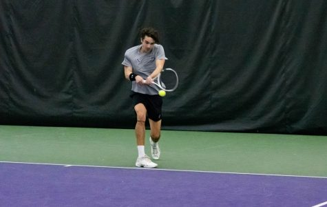 Nick Brookes hits a shot. The junior and sophomore Simen Bratholm advanced to the Sweet 16 of the NCAA Doubles Championships.