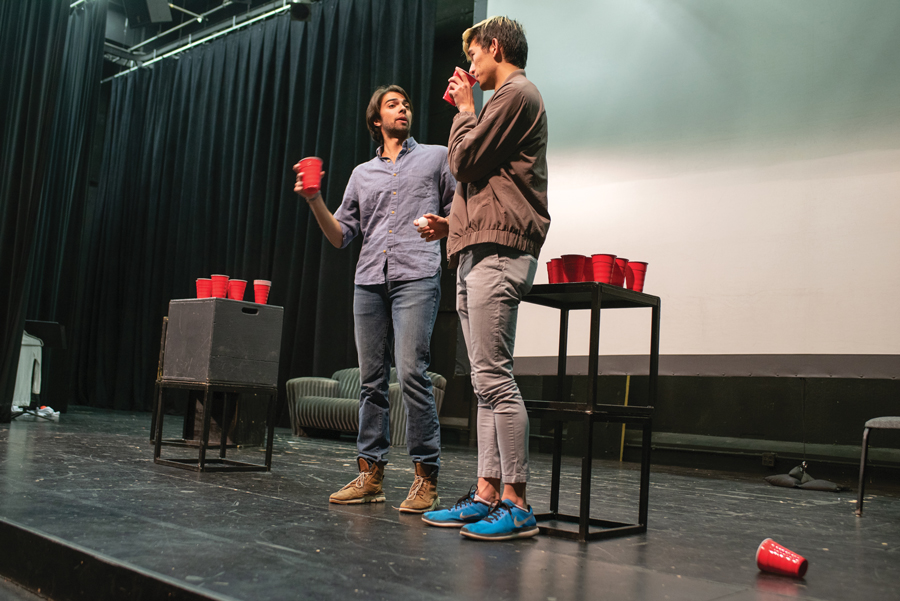 Project NU cast members rehearse for their show. Head writer Janet Lee said it was focused on Asian and Asian American experiences in college.