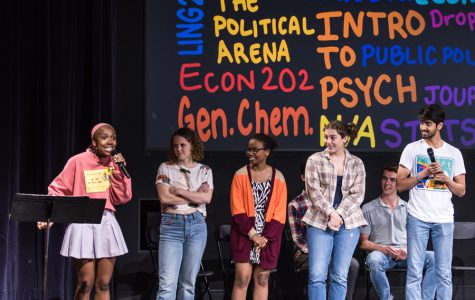 Medill sophomore Jamaica Ponder interviews fellow students onstage during Pop-Up Zine.  The students were chosen from a survey that asked questions like, 'where have you cried on campus?' and 'what is the weirdest thing you've seen at the arch?'