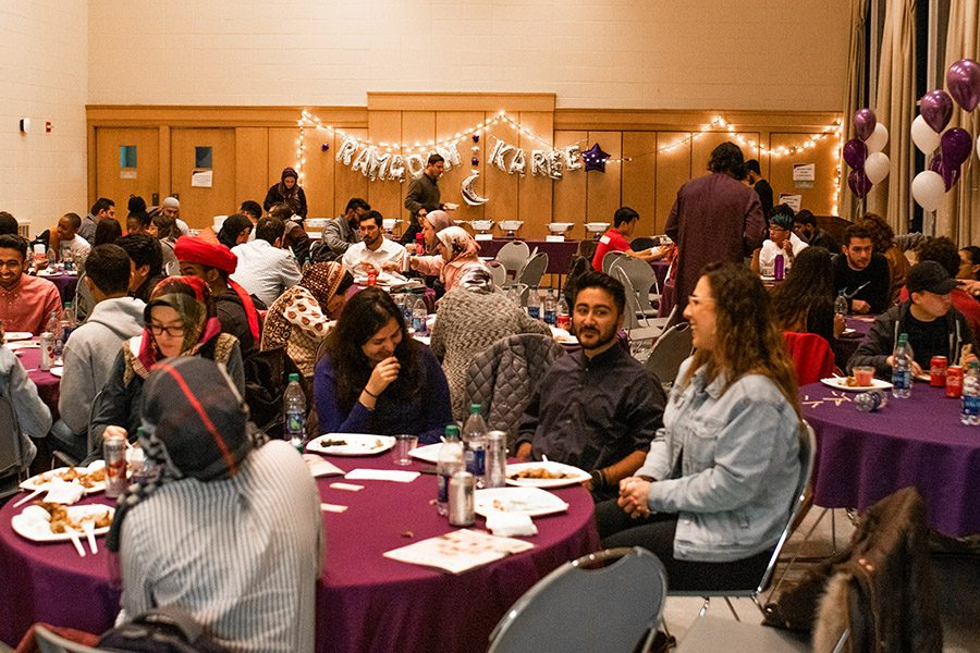 Northwestern community members celebrate the first day of Ramadan Monday evening. More than 150 people gathered in Parkes Hall to break their fast together.