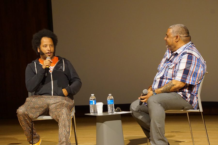 "Boots Riley discusses his film ""Sorry to Bother You."" The film, a satire of capitalism and racism, is Riley's debut film."