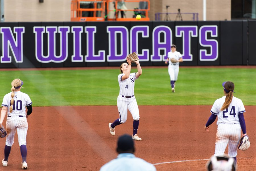 Maeve+Nelson+makes+a+catch+during+a+game+in+the+Wildcats%E2%80%99+home+NCAA+Regional.+NU+will+return+to+the+field+this+weekend+against+Oklahoma+in+a+Super+Regional.