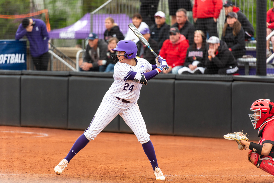 Danielle Williams prepares to hit. The freshman had four hits at the plate and pitched 23 innings in four of NU's five NCAA Regional games this weekend.