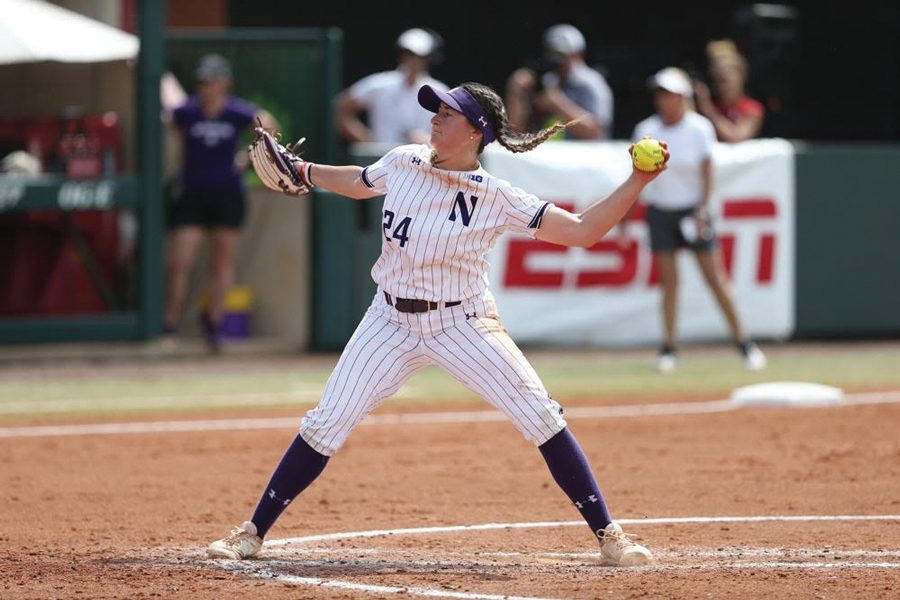 Danielle Williams delivers a pitch. The freshman pitcher started in both of NU's Super Regional losses in Oklahoma.