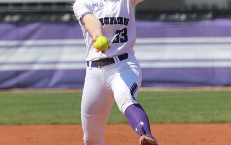 Kaley Winegarner pitches. The senior started against Minnesota in the semifinals of the Big Ten Tournament this weekend, but couldn't power the Cats to a win.