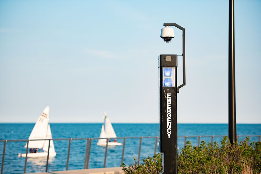 A security camera atop an emergency Blue Light on the Evanston campus. The University uses a number of cameras to surveil the campus, both indoors and out.