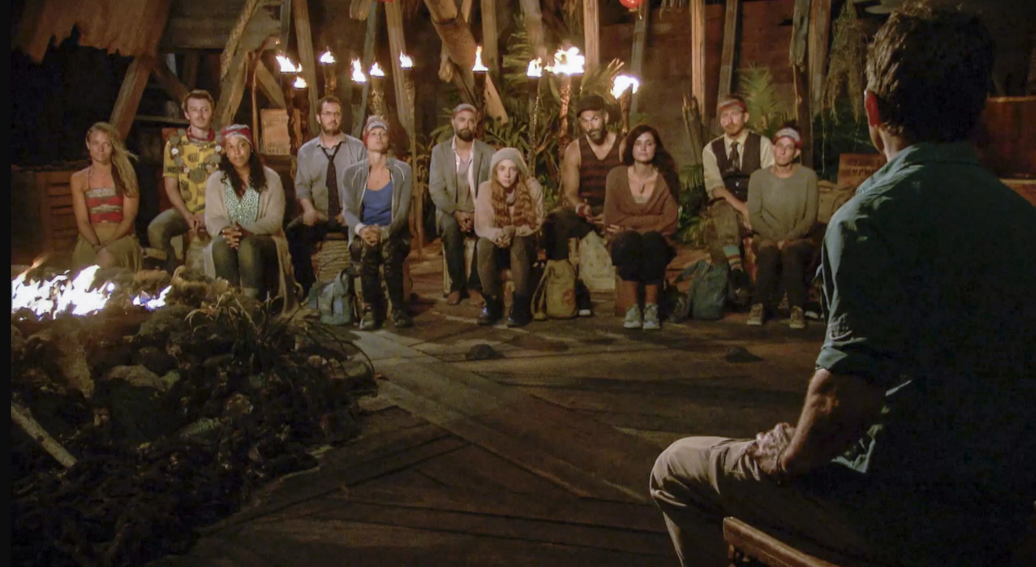 Jeff Probst chats with the final 11 contestants on