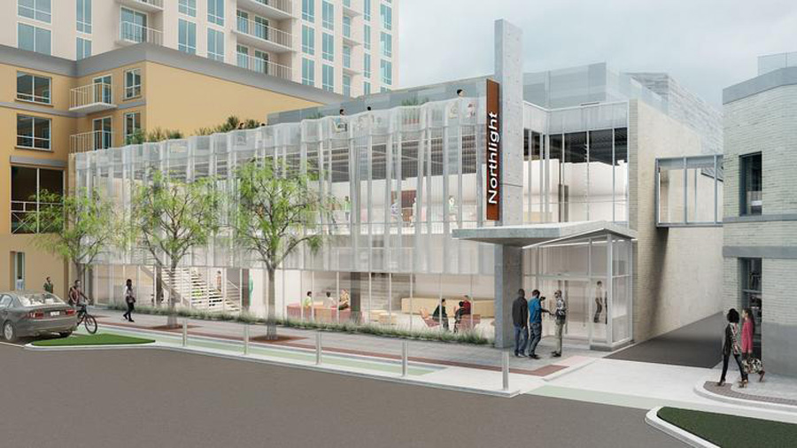 A rendering of a the proposed theatre at 1012-1016 Church St. Northlight Theatre has announced plans to build a theater in Evanston.