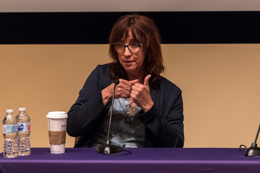 Paula Fairfield, Emmy award-winning sound designer, discusses her 30-year career with students at Annie May Swift Hall.