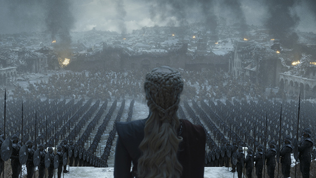 """Daenerys Targaryen addresses her army during her brief reign as Queen in Sunday's finale of """"Game of Thrones."""" Daenerys' season eight turn from savior to tyrant was seen as rushed and unearned by many critics."""