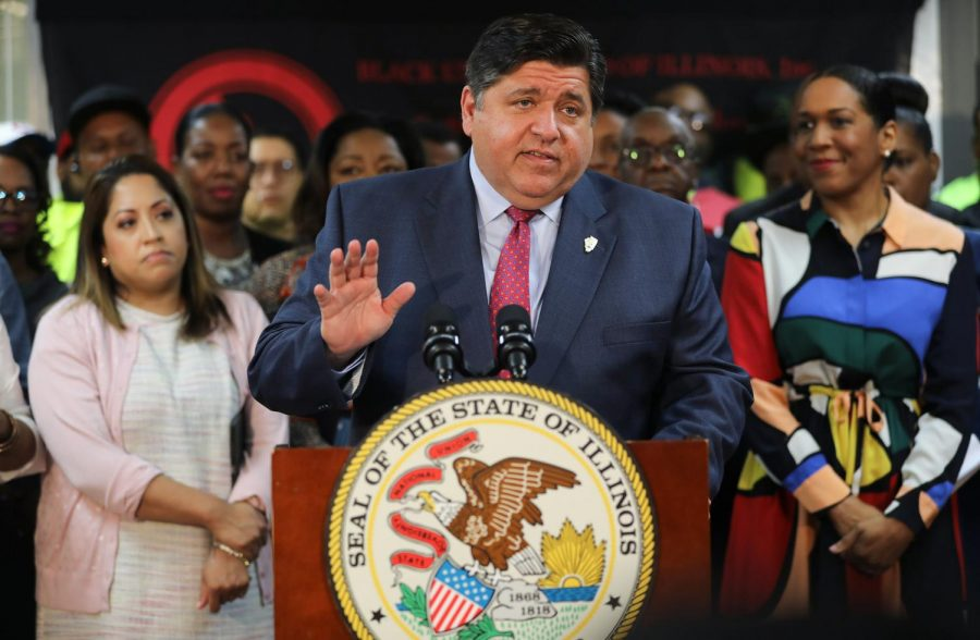 Illinois Gov. J.B. Pritzker, alongside other lawmakers and stakeholders, announces a major step forward to legalize cannabis, at Black United Fund of Illinois, on Saturday May 4, 2019. The bill also looks to expunge thousands of class-4 felony marijuana convictions.