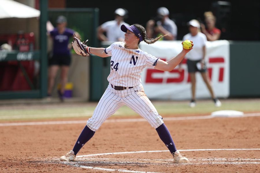 Danielle Williams pitches at the NCAA Super Regional. She is the first player in Big Ten history to be named the NFCA National Freshman of the Year.