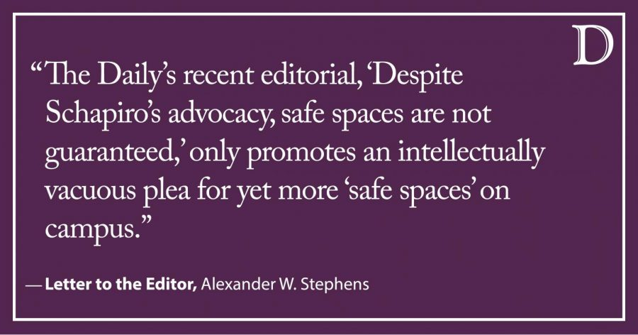 Letter to the Editor: Safe spaces