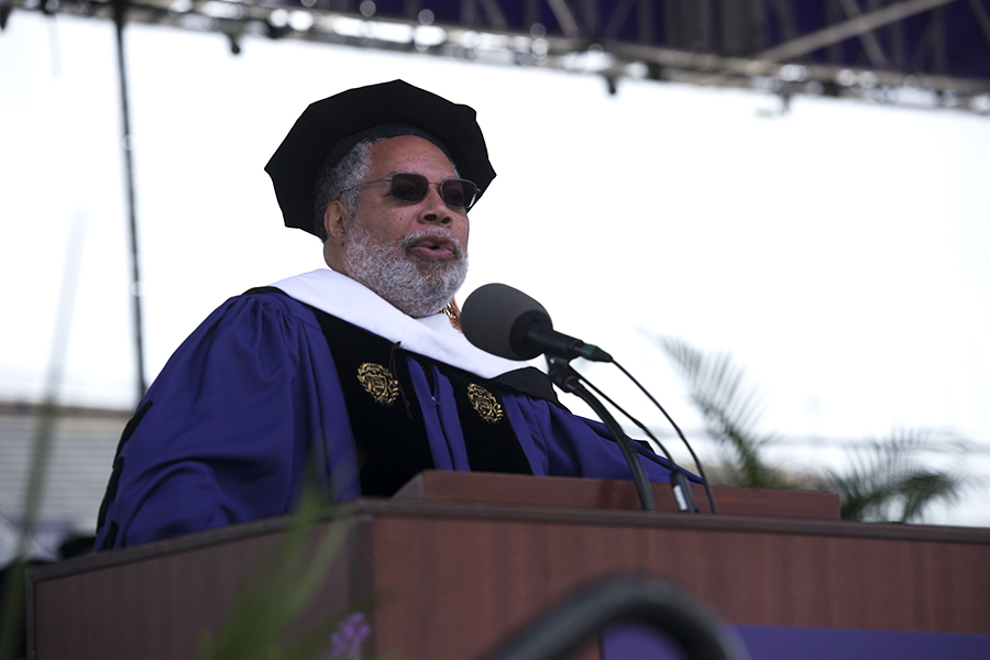 Historian Lonnie Bunch addresses graduates and families during the 2019 commencement ceremony at Ryan Field. Bunch was one of six who received honorary degrees on Friday.