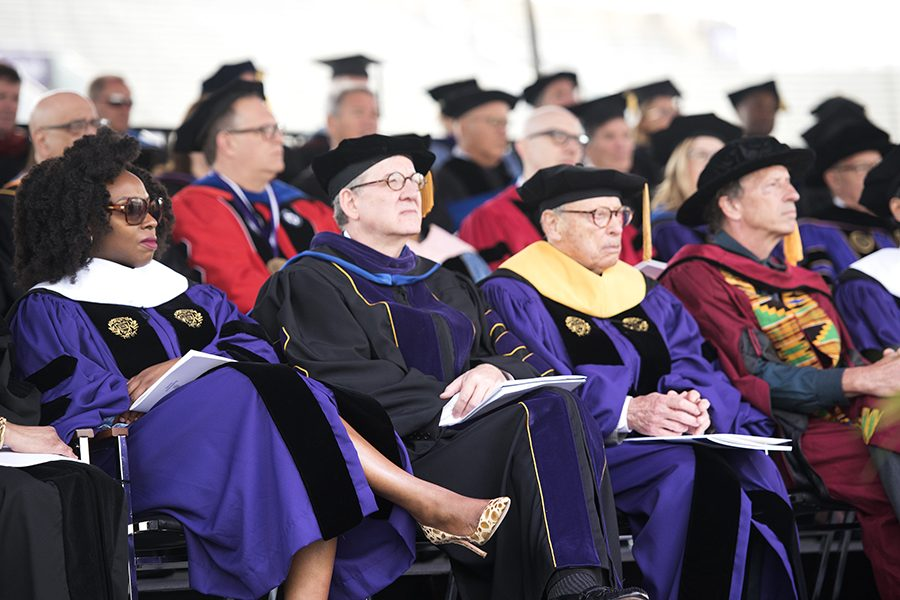 Four+of+the+honorary+degree+recipients.+The+2019+commencement+ceremony+took+place+Friday+at+Ryan+Field.+