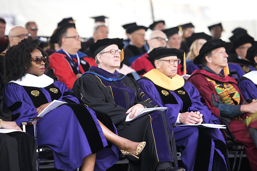 Four of the honorary degree recipients. The 2019 commencement ceremony took place Friday at Ryan Field.