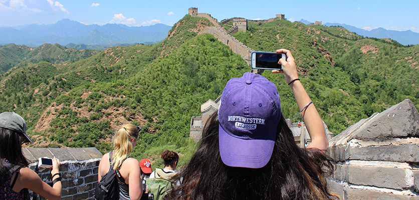 A Northwestern undergraduate student takes a picture of the Great Wall of China. The Chinese Ministry of Education this month warned its students about studying at American universities.
