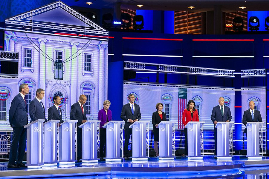 Ten presidential hopefuls stand on the debate stage. Wednesday marked one of two parts to the first round of debates in Miami.