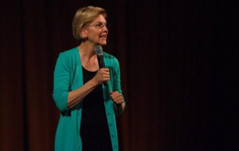 Senator Elizabeth Warren speaks during a town hall Friday night. Warren, one of many running for president, discussed her policy ideas and answered questions at Auditorium Theatre.