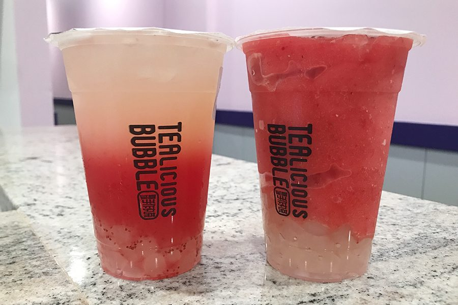 Two drinks from Tealicious Bubble. The boba store opened early this month