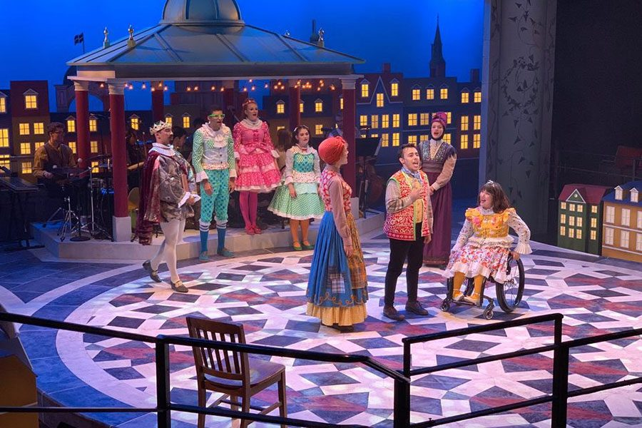 The cast rehearses a scene in which Hans Christian Andersen accepts his father's name after refusing to go by Hans for much of his life. The musical was written by Timothy Allen McDonald.