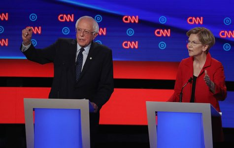 Democratic presidential candidate Sen. Bernie Sanders (I-Vt.), left, and Sen. Elizabeth Warren (D-Mass.) speak during the Democratic Presidential Debate at the Fox Theatre on Tuesday, July 30, 2019, in Detroit.