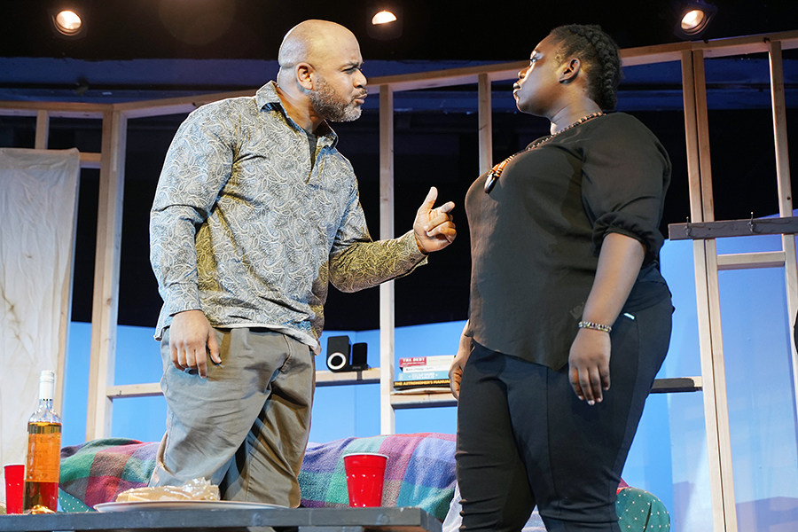 """An actor in Fleetwood-Jourdain's production of """"Sunset Baby."""" The show opened on Saturday, and will run three weekends before closing July 28th."""