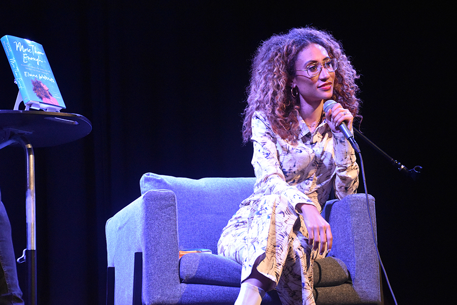 Elaine Welteroth, past editor-in-chief of Teen Vogue, takes a question from the audience at her Chicago book tour stop. The event was hosted at Wilson Abbey and garnered an audience of over 100 people.