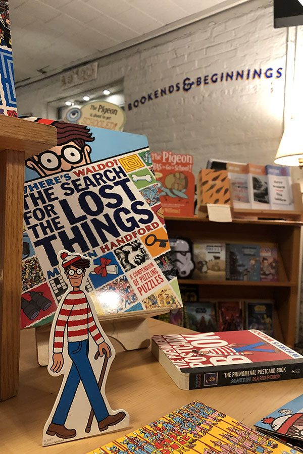 """A """"Where's Waldo?"""" display at Bookends & Beginnings. If residents find 20 or more Waldos, they can attend a party hosted by the bookstore."""