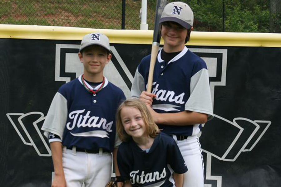 Michael, Holyn and Tommy Trautwein at Will to Live Park in Johns Creek, Georgia. The field was renamed in 2017 for their father John's foundation.