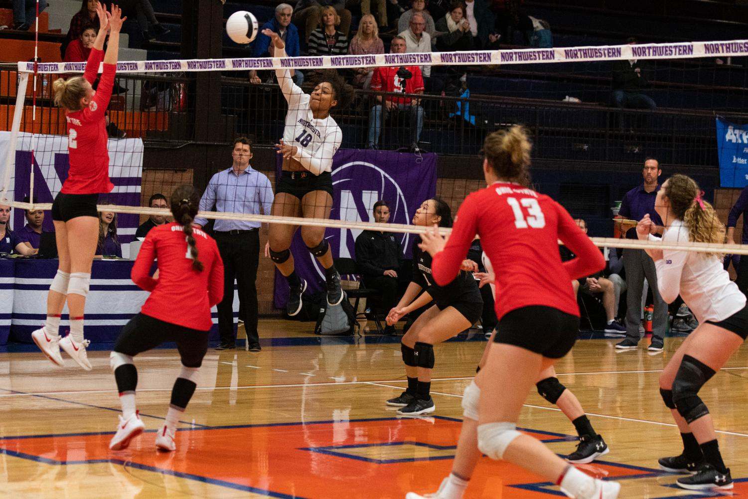 Nia Robinson spikes the ball. The outside hitter traveled to Japan as part of the Big Ten Foreign Tour Team in June.
