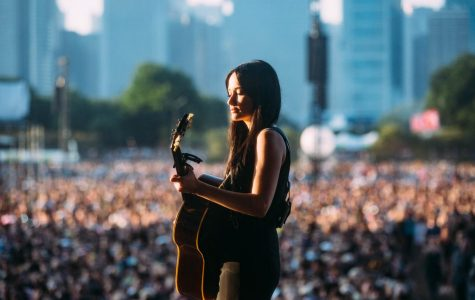 Country-pop singer Kacey Musgraves performs at sundown to a massive crowd.