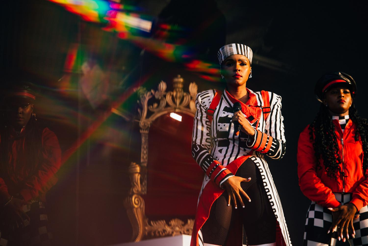 Janelle Monáe performs at Lollapalooza on Friday. Her set was complete with a throne, powerful choreography, and several outfit changes.