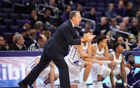 Chris Collins during a game in 2018. Northwestern will play a four-game slate in France and Italy in the next ten days.