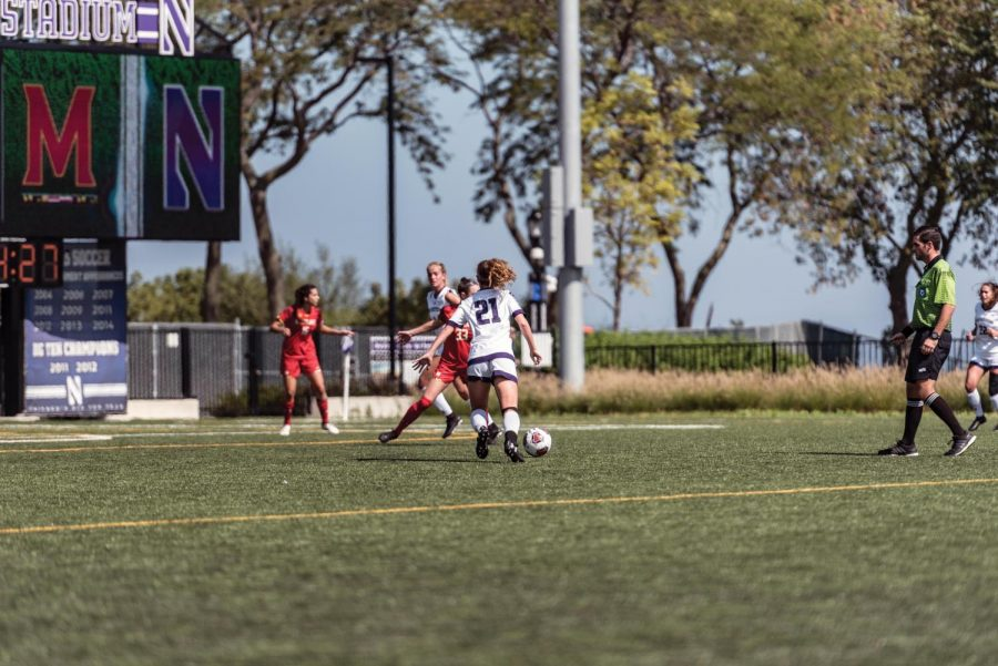 Madi+Kennel+prepares+to+kick+the+ball.+The+junior+midfielder+scored+her+first+goal+since+2017+on+Thursday.