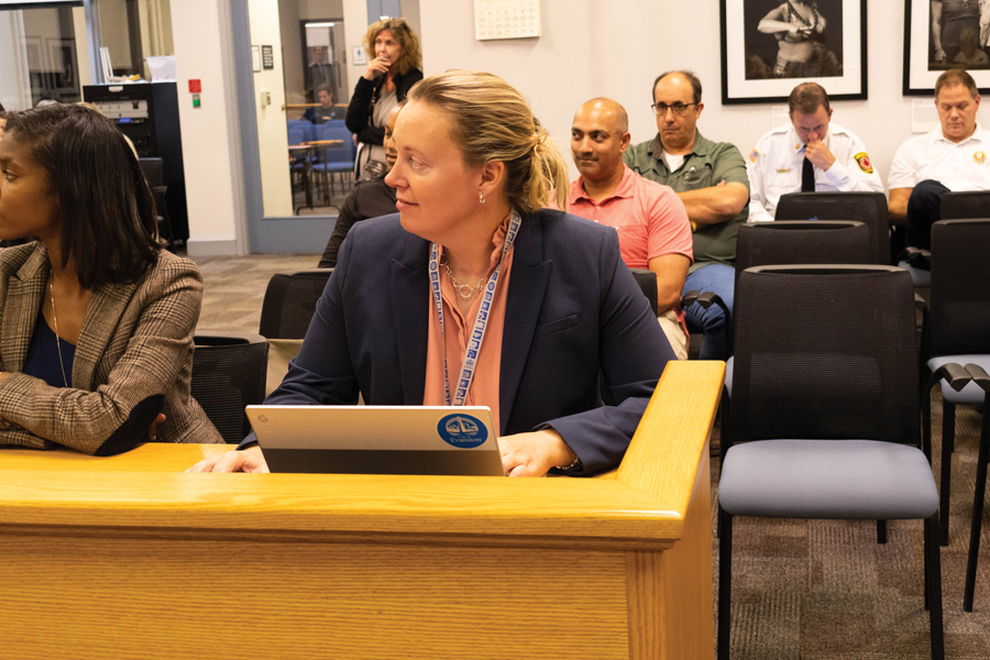 Erika Storlie at Monday's meeting. Storlie will act as the interim city manager until a permanent replacement is hired.