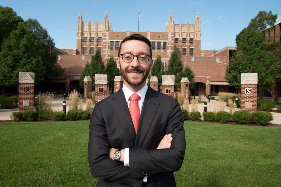 Daniel Epstein at Evanston Township High School. Epstein is running for the Illinois Supreme Court.