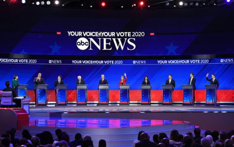Ten candidates crowd the stage during the third round of debates in Houston. More than 10 candidates have qualified for the fourth round of debates in October, which will take place over two nights.