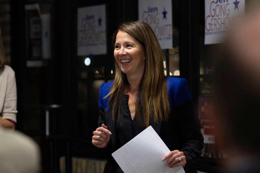 State Rep. Jennifer Gong-Gershowitz (D-Glenview) delivers a speech to a crowd of supporters at the Ten Ninety Brewing Co. Thursday. The event celebrated her campaign for re-election.