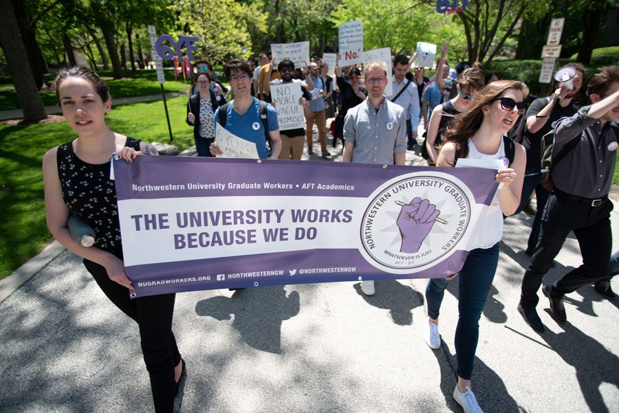 Graduate+workers+lead+a+march+for+equal+rights+on+campus+in+spring+2019.+Today%2C+NUGW+held+a+virtual+day+of+action+to+address+graduate+students%E2%80%99+roles+as+workers.%0A