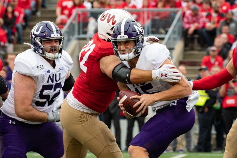Hunter Johnson gets sacked. The sophomore quarterback finished with 59 yards on Saturday.