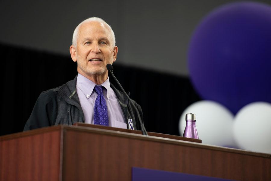 University President Morton Schapiro addresses the class of 2023 and transfers.