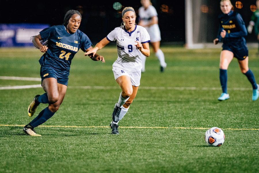 Kayleigh Stahlschmidt runs for the ball. The junior forward took two shots on goal in the Cats last win against Cincinnati almost a month ago.